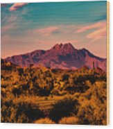 Sunset At Four Peaks Wood Print