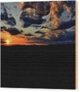 Sunset At Glassy Wood Print