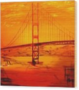 Sunset At Golden Gate Wood Print