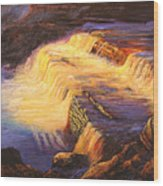 Sunset At Grand Falls Wood Print