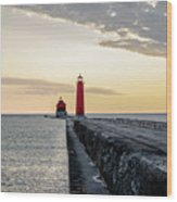 Sunset At Grand Haven Wood Print