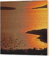Sunset At Great Cruz On St. John Wood Print
