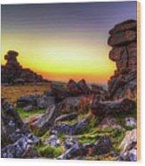 Sunset At Great Staple Tor On Dartmoor Wood Print