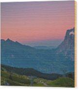 Sunset High Above Grindelwald Wood Print
