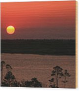 Sunset At Gulfshores Wood Print