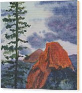 Sunset At Half Dome Wood Print