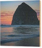 Sunset At Haystack Rock Wood Print