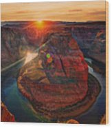 Sunset At Horseshoe Bend Wood Print