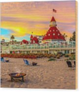 Sunset At Hotel Del Coronado Wood Print