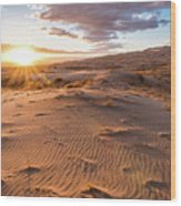 Sunset At Kelso Dunes Wood Print