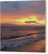 Sunset At Lahaina On Maui, Hawaii Wood Print