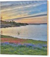 Sunset At Lake Buchanan Wood Print