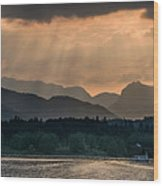 Sunset At Lake District Wood Print