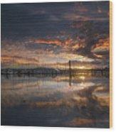 Sunset At Marina In Anacortes In Washington Wood Print