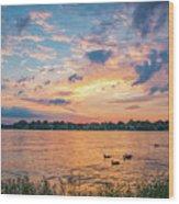 Sunset At Morse Lake Wood Print