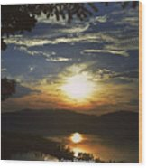 Sunset At Multnomah Falls Wood Print