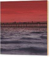 Sunset At Naples Pier Wood Print