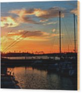 Sunset At Newport Beach Harbor Wood Print