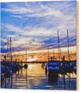 Sunset At Newport Wood Print
