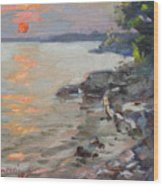 Sunset At Niagara River Wood Print
