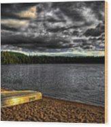 Sunset At Nicks Lake Wood Print