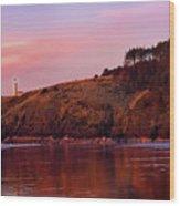 Sunset At North Head Lighthouse Wood Print