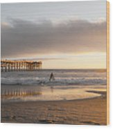 Sunset At Pacific Beach Pier - Crystal Pier - Mission Bay, San Diego, California Wood Print