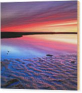 Sunset At Paines Creek Cape Cod Wood Print