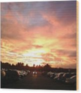 Sunset At Parking Lot Wood Print