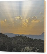 Sunset At Pastelero Near Villanueva De La Concepcion Andalucia Spain Wood Print