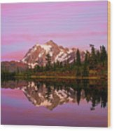 Sunset At Picture Lake Wood Print