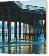 Sunset At Pismo Beach Pier Wood Print