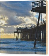 Sunset At Pismo Pier Wood Print