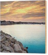 Sunset At Plymouth Harbor Wood Print