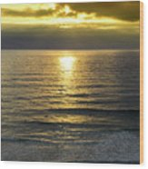 Sunset At Praia Pequena, Small Beach In Sintra Portugal Wood Print