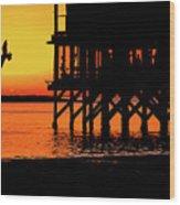 Sunset At Raft With Bird Wood Print