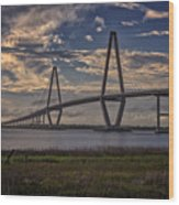 Sunset At Ravenel Bridge Wood Print