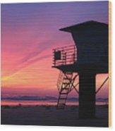 Sunset At San Elijo Wood Print