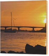 Sunset At Sarasota Bayfront Park Wood Print