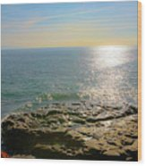 Sunset At Sea Santa Cruz Ca Wood Print