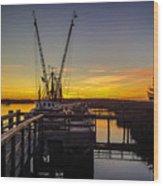 Sunset At Skippers Fish Camp Wood Print
