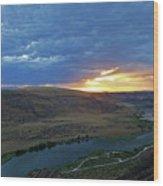 Sunset At Snake River Canyon 1 Wood Print