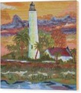 Sunset At St. Mark's Lighthouse Wood Print