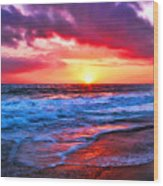 Sunset At Strands Beach Wood Print