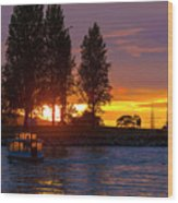 Sunset At Sunset Beach In Vancouver Bc Wood Print