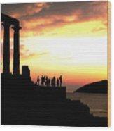 Sunset At Temple Of Poseidon Wood Print