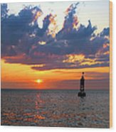 Sunset At The Bell Buoy Wood Print