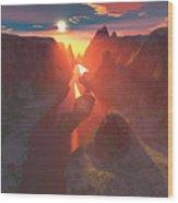 Sunset At The Canyon Wood Print