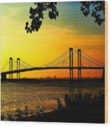 Sunset At The Delaware Memorial Bridge Wood Print