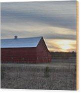 Sunset At The Farm Wood Print